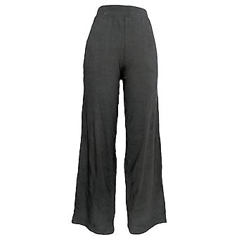 Denim & Co. vrouwen ' s broek strand pull op Wide Leg brei zwart A305631