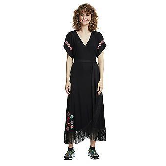 Desigual Monterrey schwarz Fransen helle ethnische Stickerei Maxi Kleid