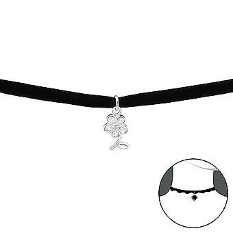 Flower - 925 Sterling Silver + Velvet Chokers - W34594x