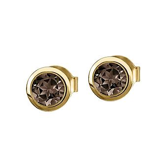 Jacques Lemans - Silver plated stud earrings with Smoky Quartz - SE-O101J
