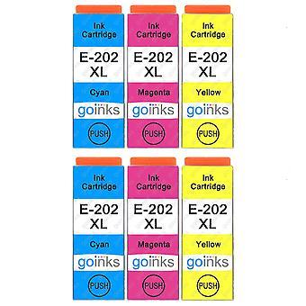 2 Set med 3 bläckpatroner för att ersätta Epson 202XL C/M/Y-kompatibel/icke-OEM från Go Inks (6 Bläck)