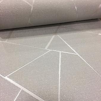 Ápice geométrica do papel de parede luxo texturizado vinil brilho metálico fino Décor cinza/prata