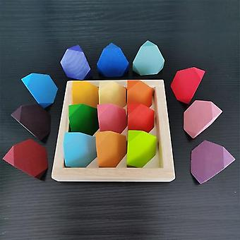 Baby Toys 12Pcs Rainbow Blocks Kids Large Creative Rainbow Building Blocks Wooden Toys for Kids