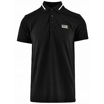 EA7 Black & Gold Short Sleeve Polo Shirt