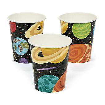 8 Outer Space Party 9 ounce Paper Cups for Kids Parter