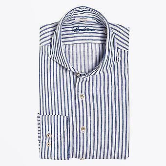 Stenstroms  - Linen Stripe Shirt - Blue/White