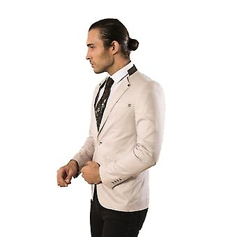 Single button crew neck cotton cream blazer