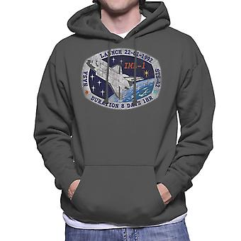 NASA STS 42 Discovery Mission Badge Distressed Men's Hooded Sweatshirt