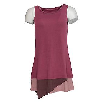 LOGO van Lori Goldstein Women's Top Knit w/ Contrast Hem Purple A284042