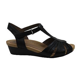 Cobb Hill Women's Hollywood Pleat T Sandal, Black Leather, 9 M US