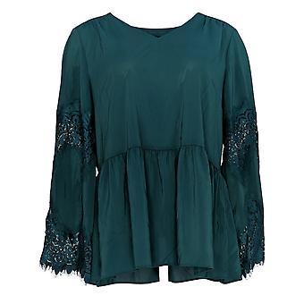 Du Jour Women'top V-Neck Peplum Top w/ Lace Bell Sleeve Green A345234