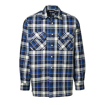 ID Mens Green Leaf Check Regular Fitting Long Sleeve Press Stud Shirt