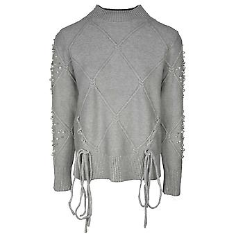 Passioni Grey Low Polo Neck Knitted Jumper With Pearl Detail