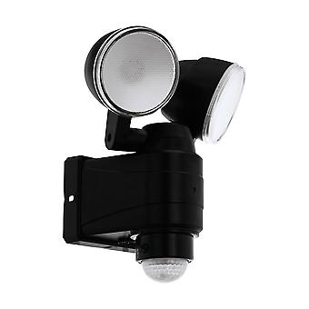 LED Outdoor Flood Wall Light with PIR Motion Sensor Black IP44