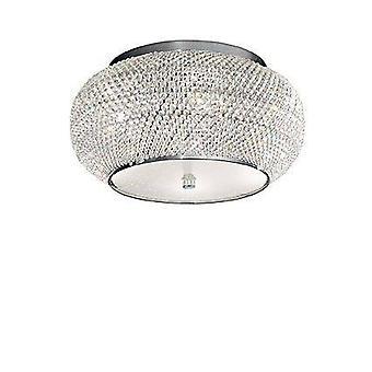 6 Light Ceiling Flush Light Chrome, Cristallo, E14