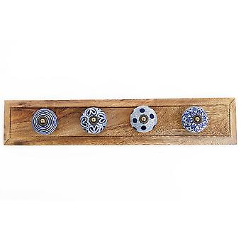 Blue and white Natural Coat Hooks On Wooden Base