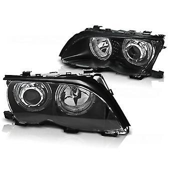 Koplampen dual halo rims BMW E46 09 01-03 05 ANGEL EYES LED ZWART