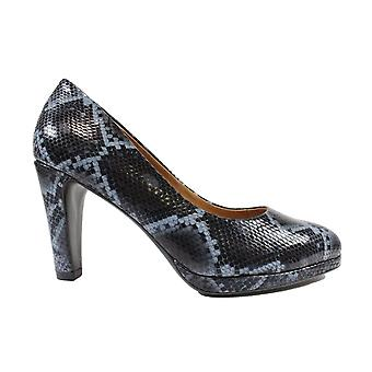 Caprice 22402 Black Snake Print Leather Womens Slip On Heeled Court Shoes