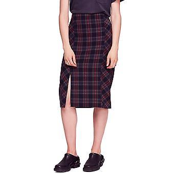 Free People | Slitted Plaid Midi Pencil Skirt