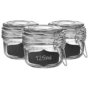 Glass Storage Jars with Airtight Clip Lid and Chalkboard Stickers - 125ml Set - White Seal - Pack of 6