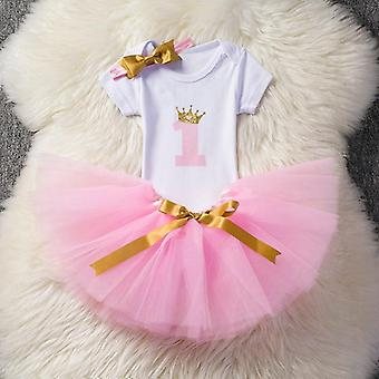 1 Year Baby Birthday Romper+tutu Dress+headband Unicorn Dress