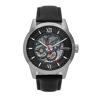 Heritor Automatique Jonas Leather-Band Skeleton Watch - Argent/ Noir