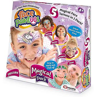 Face paintoos magical pack, temporary face paint tattoos, easy to apply and
