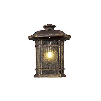 Aurelian puoliseinälamppu, 1 X E27, harjattu musta kulta/siemenlasi, Ip54, 2yrs takuu