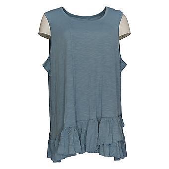DG2 par Diane Gilman Women-apos;s Plus Blue Tank Cotton Sleeveless 725-087