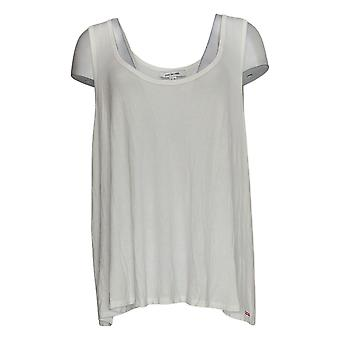 Peace Love World Women's Top Scoop Neck Ribbed Tank White A380150
