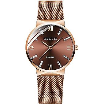GIMTO GM616 Crystal Colorful Dial Fashion Rose Gold Mesh Steel Strap Casual