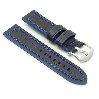 Strapsco dassari flash thick croc embossed leather strap with contrasting colors
