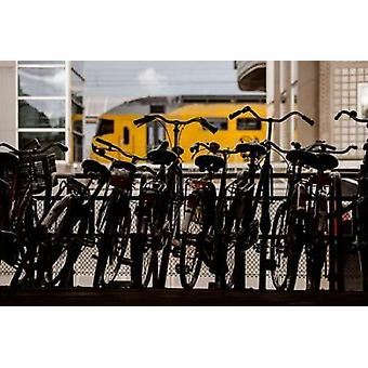 Bicycles at Centraal Station Poster Print by Erin Berzel