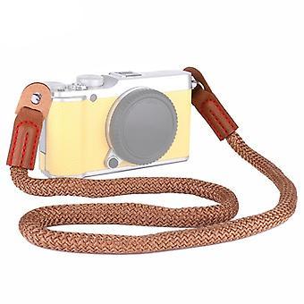 Vintage Cotton Soft Shoulder Neck Strap for Leica, Nikon, Fuji, Canon, Panasonic, Sony etc. Mini Cameras (Brown)