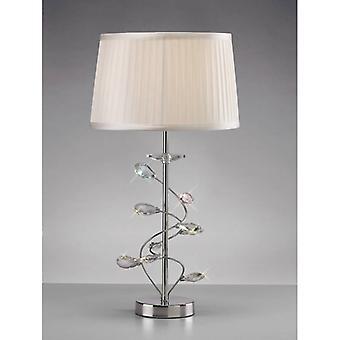 Wilgentafellamp met witte tint 1 bol gepolijst chroom / kristal