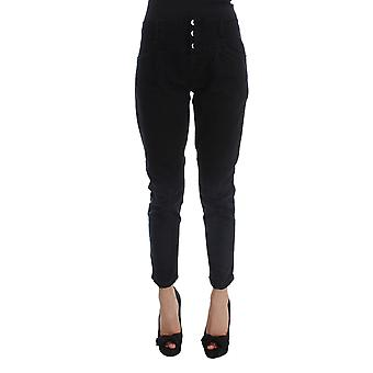 Costume National Black Cotton Slim Fit Cropped Jeans