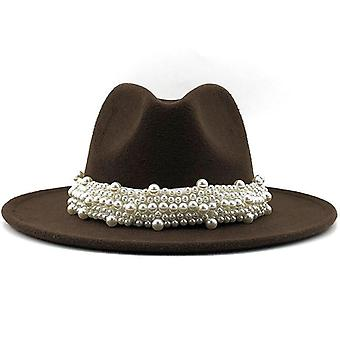 Women Wool Fedora Hat With Pearl Ribbon