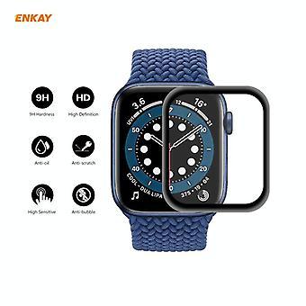 עבור Apple Watch 6/5/4/SE 44mm 10 יח ' ENKAY כובע-פרינס 0.2mm קשיחות פני השטח 3D פיצוץ הוכחה סגסוגת אלומיניום קצה מסך מלא זכוכית מחוסמת Scre