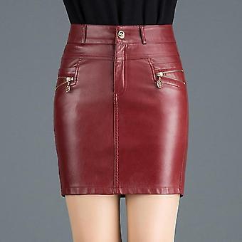 Plus Size Autumn Women Skirts Imitation Leather Winter Female Sexy Fashion