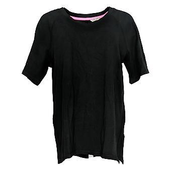 Isaac Mizrahi Live! Women's Top SOHO V-Neck Elbow-Sleeve Knit Black A365198
