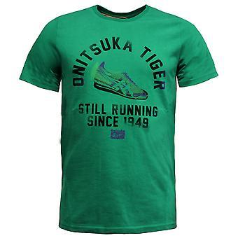 Onitsuka Tiger Casual Mens Short Sleeve T-Shirt Tee Top Green 121157 4099 A10B