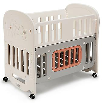 6-in-1 Baby Bed Portable Baby Crib with 5cm Thick Soft Mattress & Large Storage