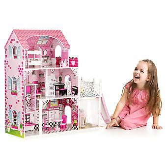 Puppenhaus pink - 3 Etagen - 71x33x90 cm - mit Rutsche