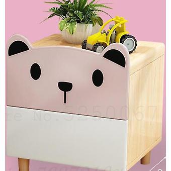 Bedside Cabinet Cartoon Bedroom Receive Storage Solid Wood Bear Double Draw
