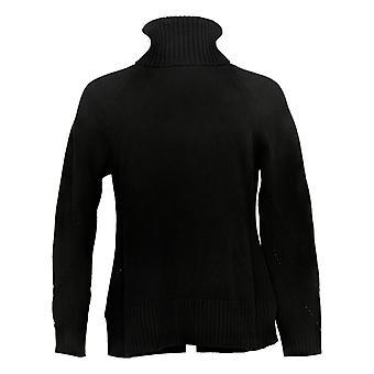 Isaac Mizrahi Live! Women's Sweater Mixed Stitch Turtleneck Black A385133