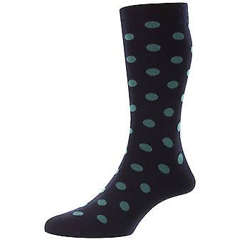 Pantherella Helianthus All Over Large Spot Merino Wool Socks - Navy
