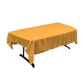 La Lino Poliéster Poplin 60 por mantel rectangular de 90 pulgadas, oro