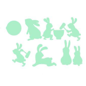 Флуоресцентные наклейки Светящийся Кролик Милый Мультфильм Стены Наклейка