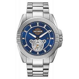 Harley Davidson 76B183 Men's Blue Dial Bar & Shield Wristwatch