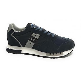 Shoes Blauer Sneaker Running Queens In Suede/ Men's Navy Blue Fabric Us21bu01